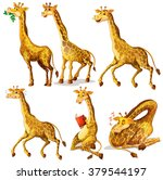 giraffes in six positions... | Shutterstock .eps vector #379544197