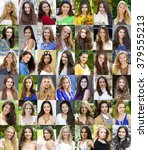collection different caucasian... | Shutterstock . vector #379555213
