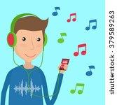 man listening music using... | Shutterstock .eps vector #379589263