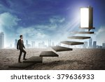 asian business person going up... | Shutterstock . vector #379636933