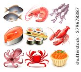 seafood icons detailed photo... | Shutterstock .eps vector #379678387