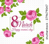 congratulation 8 march card.... | Shutterstock .eps vector #379679047