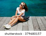 funny hipster girl in urban... | Shutterstock . vector #379680157