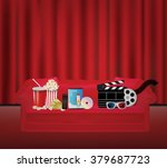 popcorn drink remote dvd movie... | Shutterstock .eps vector #379687723