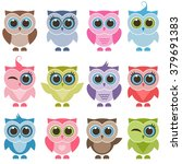 funny owls and owlets set | Shutterstock .eps vector #379691383