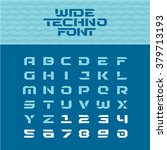 wide techno poster font.... | Shutterstock .eps vector #379713193