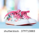 child's textile lace shoes on...   Shutterstock . vector #379713883