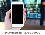 hand holding smartphone with... | Shutterstock . vector #379724977