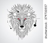 patterned head of the lion on... | Shutterstock .eps vector #379733557