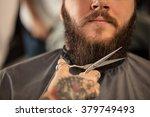 Barber With Scissors Shaving...