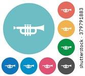 flat trumpet icon set on round...