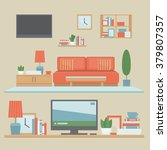 living room modern interior and ... | Shutterstock .eps vector #379807357