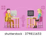 two teenagers were love on chat ...   Shutterstock .eps vector #379811653