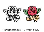 Stock vector old school rose tattoo with ribbon and word mom two variants traditional black dot style and 379845427