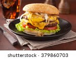 double cheeseburger with tomato ... | Shutterstock . vector #379860703