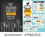 Restaurant brochure vector, menu design. Vector cafe template with hand-drawn graphic. Food flyer. | Shutterstock vector #379861513