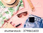 overhead shot of female casual... | Shutterstock . vector #379861603