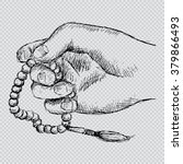 hand holding a muslim rosary.... | Shutterstock .eps vector #379866493