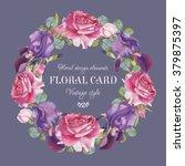 vintage floral greeting card... | Shutterstock . vector #379875397