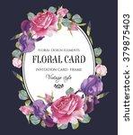 vintage floral greeting card... | Shutterstock . vector #379875403
