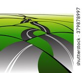 curved tarmac road across hills.... | Shutterstock .eps vector #379878997