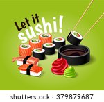 vector sushi illustration with... | Shutterstock .eps vector #379879687