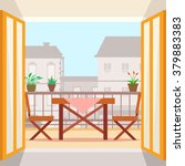 table and chairs on the balcony.... | Shutterstock .eps vector #379883383