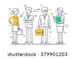 linear group of office workers... | Shutterstock .eps vector #379901203
