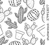 seamless pattern of cactus with ... | Shutterstock .eps vector #379913077