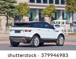 Small photo of YIWU-CHINA-JAN. 26, 2016. License-plate less Range Rover Evoque. China has tons of license-plate less black windows cars driving around, breaking laws. They often behave like they are above the law.
