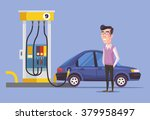 gas station and man. vector...