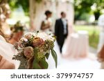 stylish happy newlyweds on the... | Shutterstock . vector #379974757