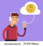 man listening to music. vector... | Shutterstock .eps vector #379979863