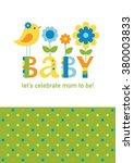 cute baby shower card design.... | Shutterstock .eps vector #380003833