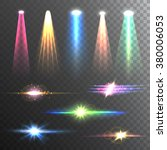 beam lights of different color... | Shutterstock .eps vector #380006053