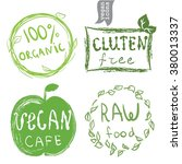 set of badges  emblems  healthy ...   Shutterstock .eps vector #380013337