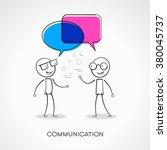 stickman with speech bubbles.... | Shutterstock .eps vector #380045737