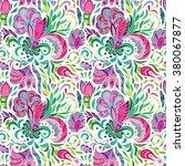 hand drawn doodle flowers.... | Shutterstock .eps vector #380067877