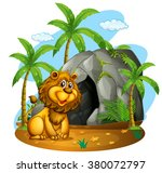 Lion Sits In Front Of Cave...