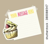 message card with tasty cupcake ... | Shutterstock .eps vector #380088547