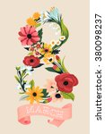 retro women'  s day floral... | Shutterstock .eps vector #380098237