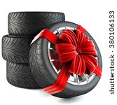 tires wrapped in red gift... | Shutterstock . vector #380106133