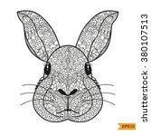 zentangle rabbit head for adult ... | Shutterstock .eps vector #380107513