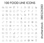 100 food line icons set. eps 10. | Shutterstock .eps vector #380124283