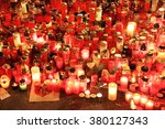 lighted candles to commemorate... | Shutterstock . vector #380127343
