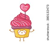 character cupcake i love you | Shutterstock .eps vector #380132473