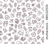 pattern kids and baby black and ... | Shutterstock .eps vector #380132533
