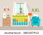 interior of a nursery. flat...   Shutterstock .eps vector #380187913