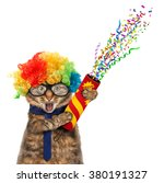 Stock photo funny cat is wearing costume clown and holding a petard 380191327