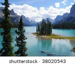 summer view of spirit island at ... | Shutterstock . vector #38020543
